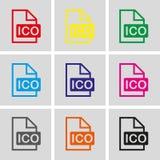 Flaches Design der Ico-Ikonenvorratvektor-Illustration Stockfotografie