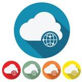Flaches Design der Internet-Speicherwolkennetz-Ikone Stockfotografie