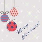 Flaches Design der Karte der frohen Weihnachten Lizenzfreie Stockbilder