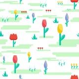 Flaches Design der nahtlosen Musterblumen-Wiese Lizenzfreie Stockfotos