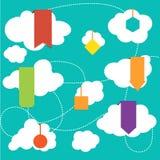 Flaches Design der Netz-Aufkleber-, Tag-, Fahnen- und Aufklebersammlung Stockfoto