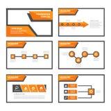 Flaches Design der orange und schwarzen Vielzweckbroschürenfliegerbroschürenwebsite-Schablone Stockbilder