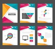 Flaches Design der rosa Gelbgrün Infographic-Elementdarstellungs-Schablone stellte für die Werbung der Marketing-Broschürenfliege Lizenzfreie Stockfotos