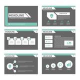 Flaches Design der schwarzen und grünen Vielzweckbroschürenfliegerbroschürenwebsite-Schablone Lizenzfreie Stockfotos