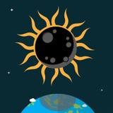 Flaches Design der Sonnenfinsternis Stockfotos