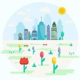 Flaches Design der Stadt im Frühjahr Stockbilder