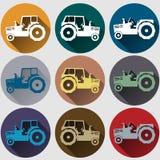 Flaches Design der Traktorikonen Lizenzfreies Stockfoto