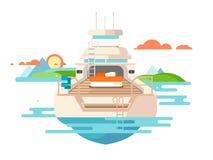 Flaches Design der Yacht vektor abbildung