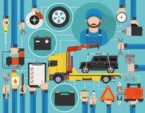 Flaches Design des Autoservice-on-line-Anrufs mit Wreckerauto und -mechaniker lizenzfreie abbildung