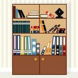 Flaches Design des Bücherschranks Stockbild