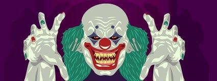Flaches Design des Clown-Halloween-Kostümclowns stock abbildung