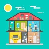 Flaches Design des Hausinnenraums Lizenzfreies Stockfoto