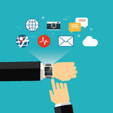 Flaches Design des intelligenten Uhrkonzeptes Lizenzfreie Stockfotos