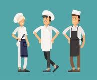 Flaches Design des kühlen Vektors kulinarisch und Küchefachleute stock abbildung