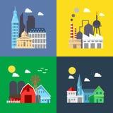 Flaches Design des Stadtbildsatzes Lizenzfreie Stockfotos