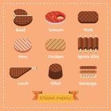 Flaches Design des Steakmenüs Stockfotos