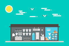 Flaches Design des Stoffshopinnenraums Lizenzfreies Stockfoto