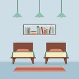 Flaches Design-Doppelbetten Innen Stockfoto