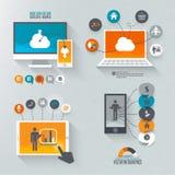 Flaches Design eingestellt für Marketing Stockbild