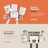 Flaches Design für Börse und kreativen Prozess Lizenzfreie Stockfotos