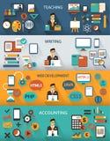 Flaches Design Freiberuflich tätige Jobs infographic mit langen Schatten Stockfotos