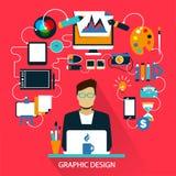 Flaches Design Freiberuflich tätige Karriere Grafische Auslegung Lizenzfreies Stockfoto