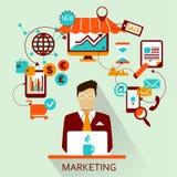 Flaches Design Freiberuflich tätige Karriere marketing Stockfoto