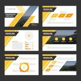 Flaches Design gelber schwarzer Darstellungsschablonen Infographic-Elemente lizenzfreie abbildung
