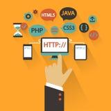 Flaches Design Geschäftskonzept mit der Hand Web-Entwicklung infographic Stockbilder