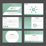 Flaches Design hellgrüner Polygondarstellungsschablone Infographic-Elemente stellte für Marketing der Broschürenflieger-Broschüre Stockbild