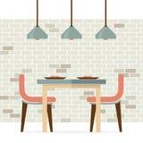 Flaches Design-Innenesszimmer Stockbild