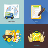 Flaches Design, Internet-Einkaufsprozeß des Kaufs und liefern Stockbild