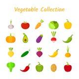 Flaches Design lokalisierte bunten Gemüseikonensatz Lizenzfreie Stockbilder