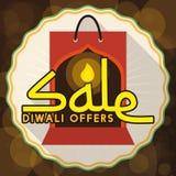 Flaches Design mit Einkaufstasche und Aufkleber für Diwali-Verkauf, Vektor-Illustration Stockfoto