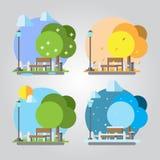Flaches Design Parkillustration mit vier Jahreszeiten vektor abbildung