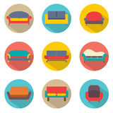 Flaches Design Sofa Icons Lizenzfreie Stockfotos
