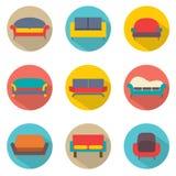 Flaches Design Sofa Icons Lizenzfreie Stockfotos