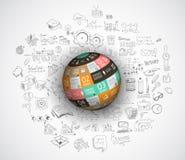 Flaches Design und Hand gezeichnete Konzepte für Geschäftserfolg Lizenzfreie Stockbilder