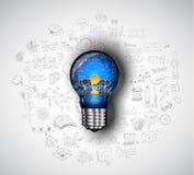Flaches Design und Hand gezeichnete Konzepte für Geschäftserfolg Lizenzfreie Stockfotos