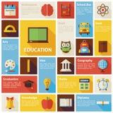 Flaches Design-Vektor-Ikonen Infographic-Bildungs-Konzept Lizenzfreie Stockfotografie