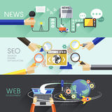 Flaches Design von Nachrichten, SEO und Netz Stockbild