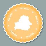Flaches Design Weißrussland-Aufklebers Stockfotos