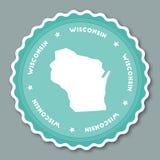 Flaches Design Wisconsin-Aufklebers Lizenzfreie Stockfotos