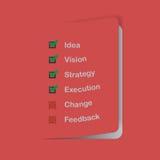 Flaches Designgeschäfts-Konzeptblatt mit Check-Liste Lizenzfreies Stockfoto
