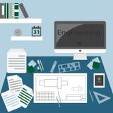Flaches Designillustrationskonzept des kreativen Büroarbeitsplatzes Stockfotografie