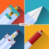 Flaches Designvektor-Startkonzept Lizenzfreies Stockfoto