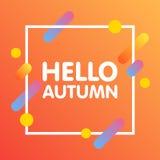 Flaches dynamisches Hintergrunddesign Buntes geometrisches auf weißem Hintergrund mit Rahmen und hallo Autumn Text Auch im corel  Stockfotos