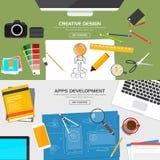 Flaches entworfenes Fahnen-Konzept Lizenzfreies Stockfoto