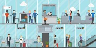 Flaches Flughafenabfertigungsgebäude Stockbilder
