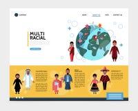 Flaches gemischtrassiges Leute-Website-Konzept Lizenzfreie Stockfotos